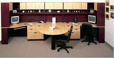 Picture of 2 Person U Shape Office Desk Workstation with Shared Peninsula Desk