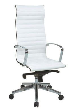 Picture of High-Back White Eco Leather Chair with Built-in Headrest
