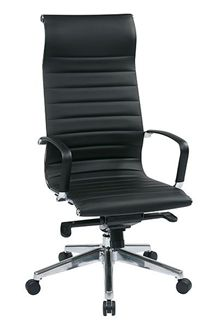 Picture of High-Back Black Eco Leather Chair with Built-in Headrest