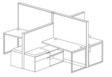 Picture of 4 Person Cubicle Desk Workstation with Storage Credenza