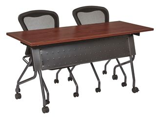 "Picture of 60"" Mobile Nesting Training Table with 2 Armless Mesh Nesting Chairs"