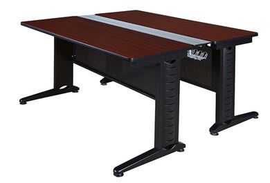 "Picture of 24"" x 48"" Training Bench Table with Modesty and Wire Management Legs"