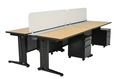 Picture of 4 Person Training Bench Seating with Filing Pedestals