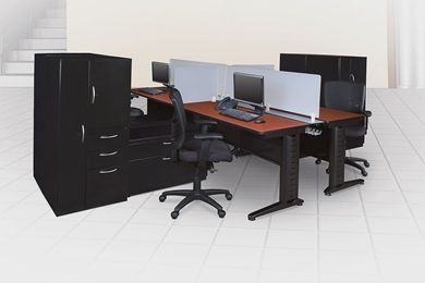 Picture of 4 Person Training Table Workstation with Wardrobe and Lateral Filing