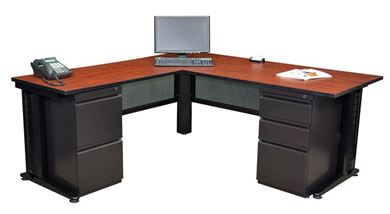 "Picture of 66"" L Shape Metal Office Desk Workstation with Wire Management and Filing Pedestals"