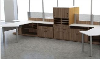 Picture of 4 Person Contemporary L Shape Office Desk Workstation with Filing Storage