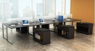 Picture of 6 Person Bench Seating Office Desk Workstation with Filing Storage