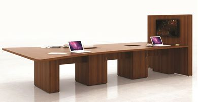 Picture of 12' Conference Table with Power Modules and Wall Storage