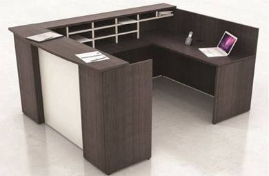 Picture of U Shape Reception Desk Office Workstation with Organizer Hutch