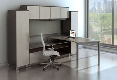 Picture of Contemporary L Shape Table Desk with Lateral File Credenza and Wardrobe Storage