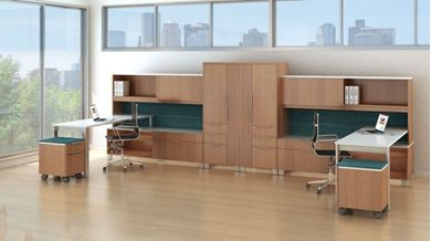 Picture of Contemporary 2 Person L Shape Office Desk Workstation with Wardrobe Stroage