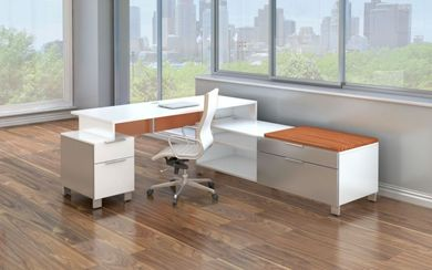 Picture of Contemporary L Shape Desk with Lateral Low Credenza