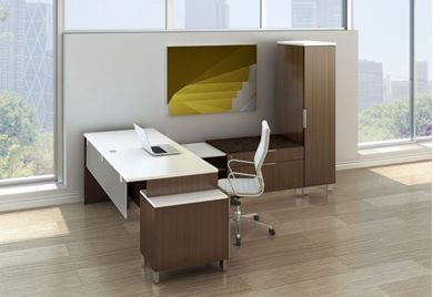 Picture of Contemporary L Shape Desk Workstation with Credenza Lateral File Storage