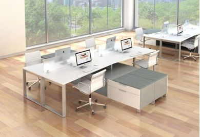 Picture of 2 Cluster of 4 Person Bench Seating with Lateral File Storage