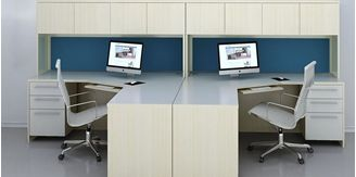 Picture of 2 Person L Shape Desk Workstation with Filing and Closed Overhead Storage