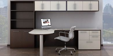 Picture of Peninsula Top L Shape Office Desk Workstation with Overhead Storage and Bookcase Filing