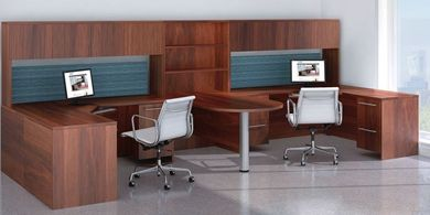 Picture of 2 Person U Shape Office Desk Workstation with Shared Peninsula Table and Overhead Storage