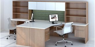 Picture of 2 Person L Shape Office Desk Workstation with Overhead Storage and Bookcase Filing