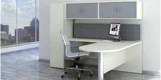 "Picture of 72"" L Shape Peninsula Desk with Wall Mount Storage and Wardrobe Storage"