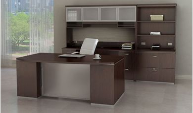 Picture of Contemporary Bowfront Desk with Kneespace Credenza with Overhead Storage and Lateral Bookcase File