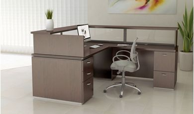 "Picture of Contemporary 72"" L Shape Office Desk Workstation with Glass Inserts"