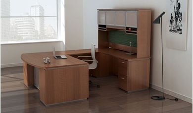 Picture of Contemporary Bowfront U Shape Office Desk Workstation with Glass Door Overhead Storage