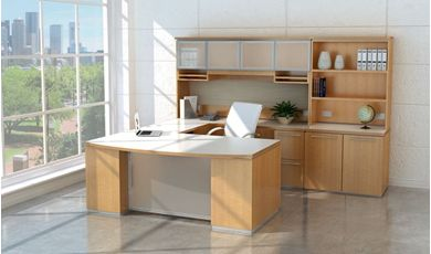 Picture of Contemporary Bowfront U Shape Office Desk Workstation with Glass Door Overhead Storage and Storage Cabinet
