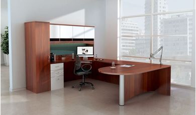 "Picture of 72"" U Shape Peninsula D Top Office Desk Station with Overhead and Wardrobe Storage"
