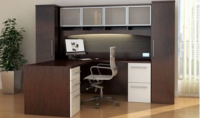 "Picture of 72"" L Shape Office Desk Workstation with Overhead Storage and Wardrobe Cabinets"