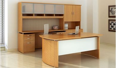 Picture of Contemporary Executive Desk with Kneespace Credenza, Overhead Storage Hutch and Closed Door Cabinet
