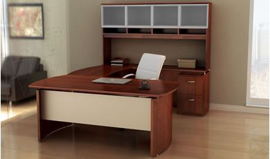 "Picture of 72""W Contemporary U Shape Office Desk Workstation with Glass Door Overhead"