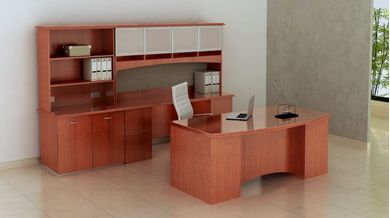 "Picture of 72""W Executive Desk with Kneespace Credenza and Glass Door Overhead"
