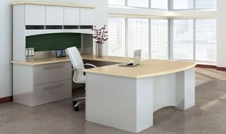 "Picture of 72"" Bowfront U Shape Office Desk Workstation with Closed Overhead Storage"