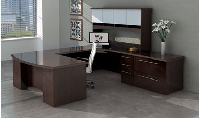 "Picture of 72"" Bowfront U Shape Office Desk Workstation with Overhead Storage and Lateral File"