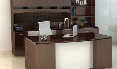 "Picture of 72"" Executive Desk with Kneespace Credenza, Closed Overhead Storage with Lateral Bookcase"