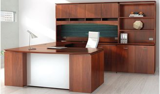 """Picture of 72"""" Executive U Desk with Kneespace Credenza, Closed Overhead Storage with Bookcase Storage"""