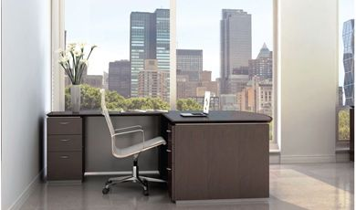 "Picture of 72"" Bowfront L Shape Office Desk with Filing Pedestals"