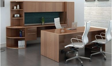 "Picture of 72""W Executive Desk with KneeSpace Credenza and Wardrobe Storage"