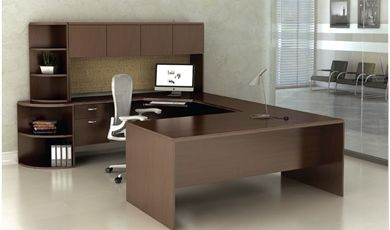 "Picture of 72"" U Shape Corner Curve Office Desk with Overhead and Bookcase Storage"