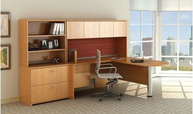 "Picture of 72"" L Shape Peninsula Desk Station with Overhead Storage and Lateral Bookcase"