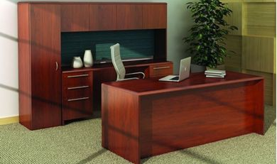 "Picture of 72"" Executive Desk with Kneespace Credenza with Closed Overhead Storage"