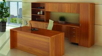 "Picture of 72"" Executive Desk with Kneespace Credenza with Storage and Lateral Filing"