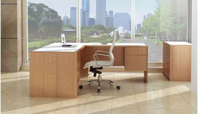 "Picture of 72"" L Shape Office Desk With Filing Cabinets and 2 Drawer Lateral File"