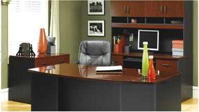 """Picture of 72"""" BowFront Executive Desk with Kneespace Credenza and Lateral File Storage"""