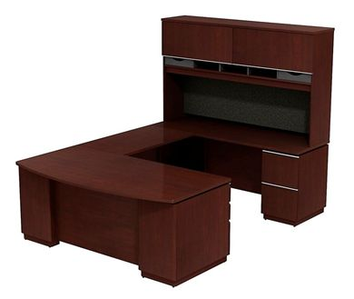 """Picture of 72"""" Bowfront U Shape Office Desk Workstation with Closed Overhead Storage"""