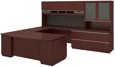 """Picture of 72"""" Bowfront U Shape Office Desk Workstation with Overhead Storage with Lateral File Bookcase"""