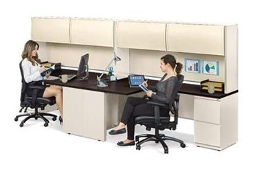 Picture of 2 Person Steel Desk with Flipper Storage and Filing Pedestal