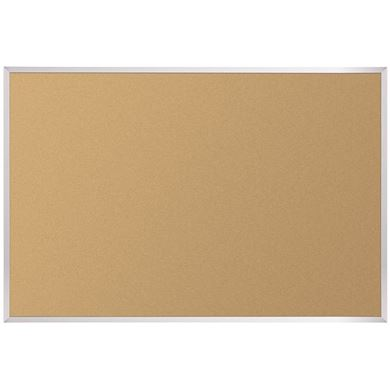 Picture of 4'H x 6'W Natural Cork Tackboard With SIlver Aluminun Trim