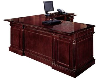 """Picture of Traditional Veener 66""""W L Desk with Filing Pedestals"""