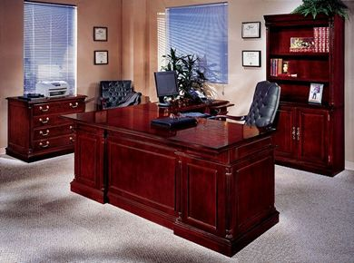 """Picture of Traditional Veneer 72"""" L Desk with Lateral File and Bookcase Storage"""